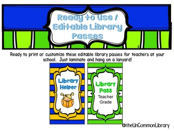 Ready to Print or Editable Library Passes