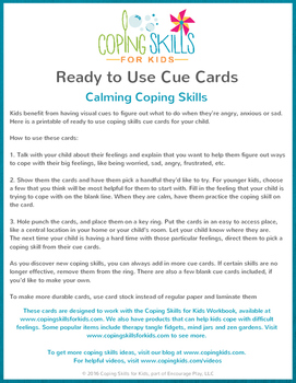 Ready to Use Calming Skills Cue Cards