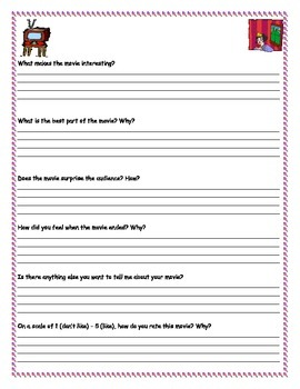 Ready to Use ESL Movie ReviewWorksheet~ Can be used for any movie