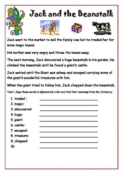 Ready to Use ESL Worksheet  - Jack and The Beanstalks.