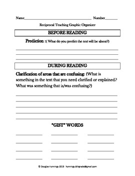 Ready to Use Graphic Organizer for Reciprocal Teaching