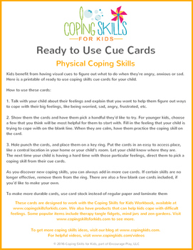 Ready to Use Physical Coping Skills Cue Cards