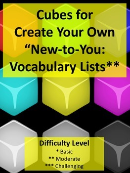 Ready to Use Vocabulary Cubes (3) for Student Created Vocabulary Lists