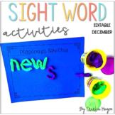 Sight Word Activities December Word Work 1st Grade Editable