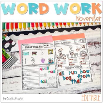 Ready to Work on Words - EDITABLE - November - Word Work 1st Grade