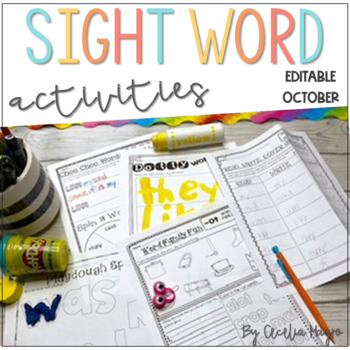 Ready to Work on Words - EDITABLE - October - Word Work 1st Grade