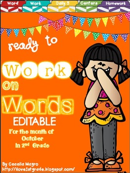 Ready to Work on Words - EDITABLE - October Word Work 2nd Grade