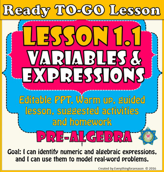 Ready to-go Lesson 1.1 Variables and Expressions