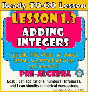 Ready to-go Lesson 1.3 Adding Integers