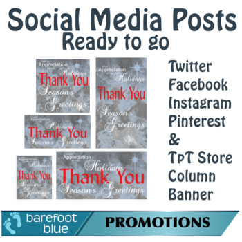 Ready-to-go Social Media Posts, Season's Greetings Set 4, Silver-Red