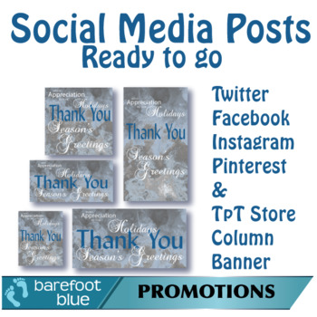 Ready-to-go Social Media Posts, Season's Greetings Set 3, Silver-Blue