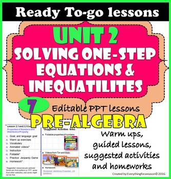 Ready to-go Unit 2. Solving One-Step Equations and Inequalities - Bundle - EDITA