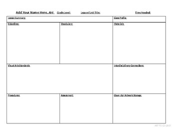Ready to use Art lesson plan template