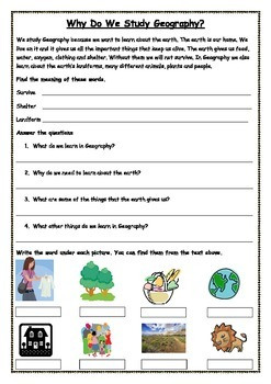 Ready to use ESL Geography Worksheet - Why do we study Geography?