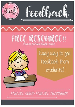 Ready to use teacher feedback sheets