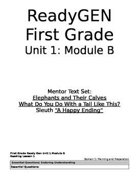ReadyGEN 1st Grade: Unit 1, Module B, CCLS/Danielson Aligned - EDITABLE