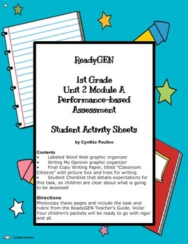 ReadyGEN 1st Grade Unit 2 Module A Performance-based Assessment Sheets