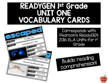 ReadyGEN 2016 1st Grade Unit 1 Vocabulary Cards