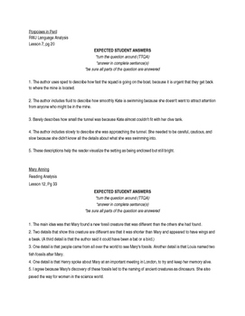 ReadyGEN 2016- 4th Gr. - Unit 1.A Reading/Language Analysis ANSWER KEY