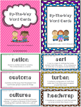 ReadyGEN 2016 Grade 1 Unit 6 Module A & B By-The-Way Word Cards