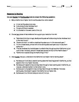 ReadyGEN 2016- 4th Grade- 3.A Reading Response Quiz