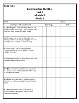 ReadyGEN First Grade Common Core Checklist Unit 1 Module B