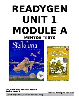 ReadyGEN 1st Grade: Unit 1, Module A, CCLS/Danielson Aligned - EDITABLE