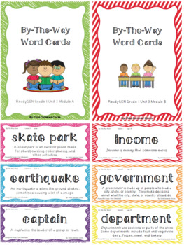 ReadyGEN 2016 Grade 1 Unit 3 Module A & B By-The-Way Word Cards