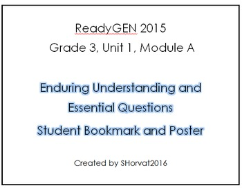 ReadyGEN Grade 3 Unit 1 Module A Enduring Understandings Bookmark and Poster