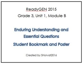 ReadyGEN Grade 3 Unit 1 Module B Enduring Understandings Bookmark and Poster
