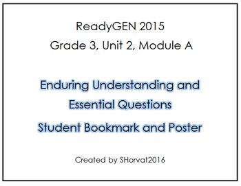 ReadyGEN Grade 3 Unit 2 Module A Enduring Understandings Bookmark and Poster