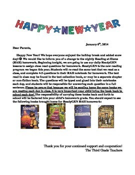ReadyGEN Homework Parent Letter Grade 3