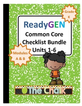 ReadyGEN Kindergarten Common Core Checklist Bundle Units 1-6