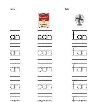 ReadyGEN Kindergarten Phonics Remediation worksheet (Am, At, An Family)