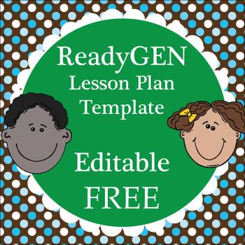 ReadyGEN Lesson Plan Template / Editable Word Document