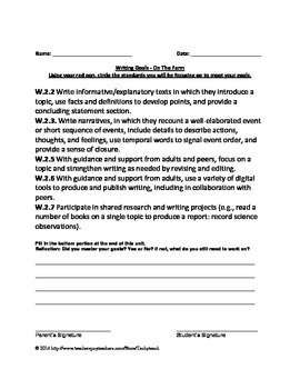 ReadyGEN Nonfiction Writing - On The Farm - Student Goals