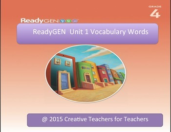 ReadyGEN The Tarantula Scientist Vocabulary Words (Unit 1 Module A)