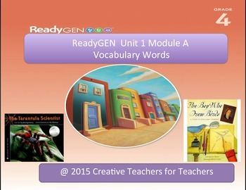 ReadyGEN Unit 1 Module A - Vocabulary Word Wall Cards with Definitions & Visuals