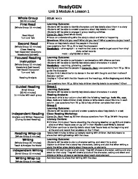 ReadyGEN Unit 3 Module A Lessons 1-13 Kindergarten
