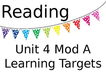 ReadyGEN Unit 4 Mod A Reading and Writing Learning Target Posters