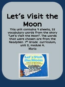 ReadyGen Let's Visit the Moon Vocabulary 1st Grade Unit 5 Module A