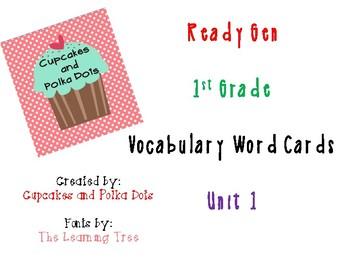 ReadyGen 1st Grade Vocabulary Word Cards Unit 1