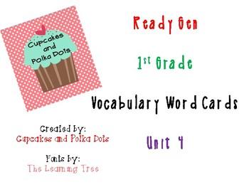 ReadyGen 1st Grade Vocabulary Word Cards Unit 4