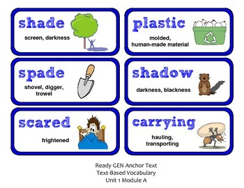ReadyGen 2016 Lesson Plans Unit 1A - Word Wall Cards - EDITABLE - Grade 2