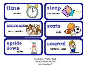 ReadyGen 2016 Lesson Plans Unit 1B - Word Wall Cards - EDITABLE - Grade 1