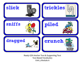 ReadyGen 2016 Lesson Plans Unit 3A - Word Wall Cards - EDITABLE -Kindergarten