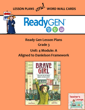 ReadyGen 2016 Lesson Plans Unit 4A - Word Wall Cards - EDITABLE - Grade 3