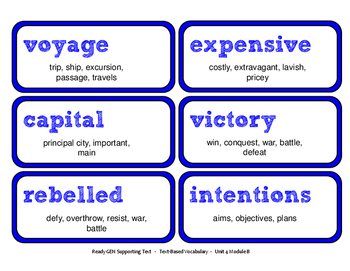 ReadyGen 2016 Lesson Plans Unit 4B - Word Wall Cards - EDITABLE - Grade 5