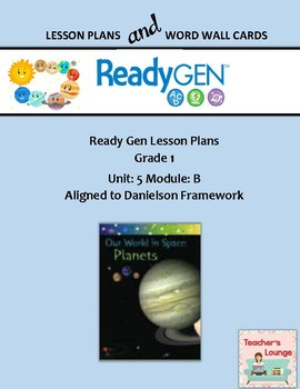 ReadyGen 2016 Lesson Plans Unit 5B - Word Wall Cards - EDITABLE - Grade 1