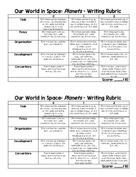 ReadyGen 2016 Selection Test Writing Rubric: Our World in Space